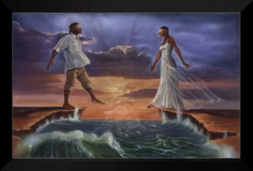 Step Out On Faith Love 28x40 FRAMED Art Print by Kevin Williams by ArtDirect