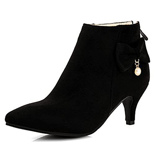 Women's Elegant Pendant Pointy Toe Ankle Boots Mid Heels Stiletto Zip Up Booties With Bow