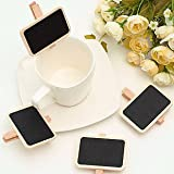 Joinwin® 12 Rectangle Clips Wood Mini Blackboard Chalkboard Peg Clip Wedding Gift Card Favours