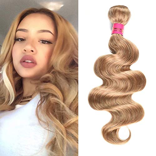 Wome Hair Brazilian Curly Hair Bundles 1 Bundle Honey Blonde Body Wave Human Hair Wefts Hair Extensions Deal with Mixed Lengths(16