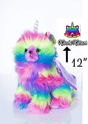 KITCHI - KITTEN Rainbow Stuffed Animal Plush Toy Fun Colorful Kitten Unicorn with Light Purple Wings]()