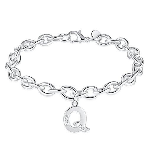 - WIBERN Jewelry Silver Tone Zircon Stone 26 Letters Alphabet Initial Charm Link Friendship Bracelet for Women (Alphabet Q)
