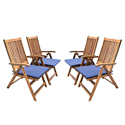Living Essentials Outdoor Patio Dining Chairs | Acacia Wood Folding Arm Chair with Water-Resistant Navy Blue Cushions | Patio, Backyard, Poolside | Natural Finish| Set of 4