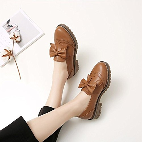 Shoes Women's Heel Slip Toe Sfnld Sweet Oxford Low On Bowknot Brown Round 6vwCUxqC