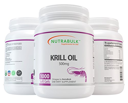NutraBulk Krill Oil - Supports Heart + Brain + Joint Health - 500 mg Soft Gels - 1000 Count by NutraBulk