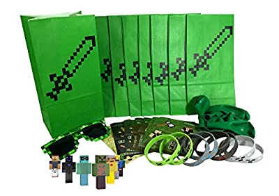Pixel Mine Crafter Style Party Favor Sets (8-Pack) - Birthday Party Supplies Kit Includes Goody Bags, Stickers, Wristbands, Mini Character Toys, Balloons and ONE Bonus Pair of Sunglasses