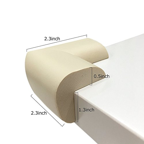 Baby Proofing Table Corner Protector,8 Pack Beige Foam Corners Bumpers for Furniture,Edge Protector for Large Edges & 2 Pack Child Protection Cabinet Locks(10 Packs) by SHINYBB (Image #3)