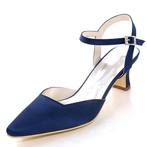 pour 0723 Buckle Bas 16 L d'honneur Grande Femmes Demoiselle Closed Chaussures Toe YC Taille de Satin Mariage Talons Blue wOIRqY