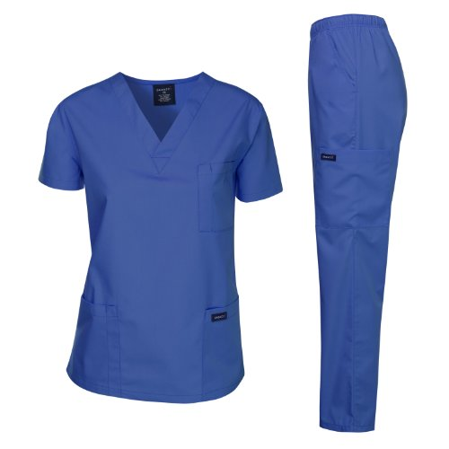 Dagacci Medical Uniform Woman and Man Scrub Set Unisex Medical Scrub Top and Pant, Royal, S