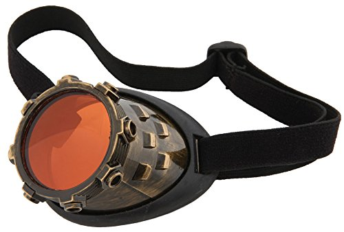 Gold Steampunk Costume Goggle Eyepatch Monocle by elope -