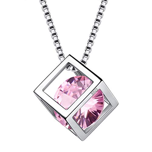 Aurora Tears Oct. Birthstone Necklaces Women Crystal 925 Sterling Silver 3D Cube October Birth Stone Pendant Cubic Zirconia Birthday Pendant Girls Charm Dating Gift Jewelry DP0028O
