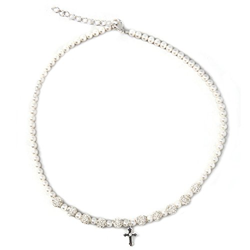 Christening Pave Beads with Sterling Silver Cross Charm with White Swarovski Simulated Pearls Communion Child Necklace (NSHWC)