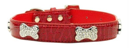 Mirage Pet Products Faux Croc Crystal Bone Collars, Red, Medium Crystal Bone Leather