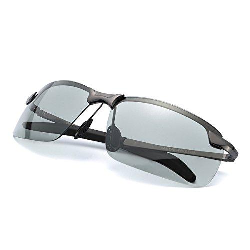 Men's Photochromic Polarized Sunglasses for Driving, Rectangular Frame with...