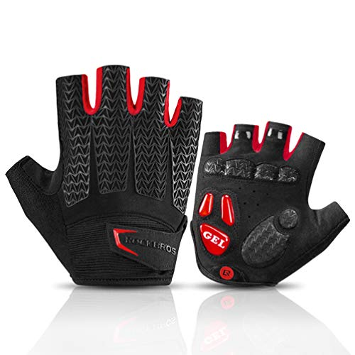 ROCK BROS Road Cycling Gloves for Men Women Commuter Gloves Half Finger Biking Gloves with Gel Padded Shock Absorbing, Breathable Anti Slip Road Bike Gloves for Summer Bicycling Riding Red -S