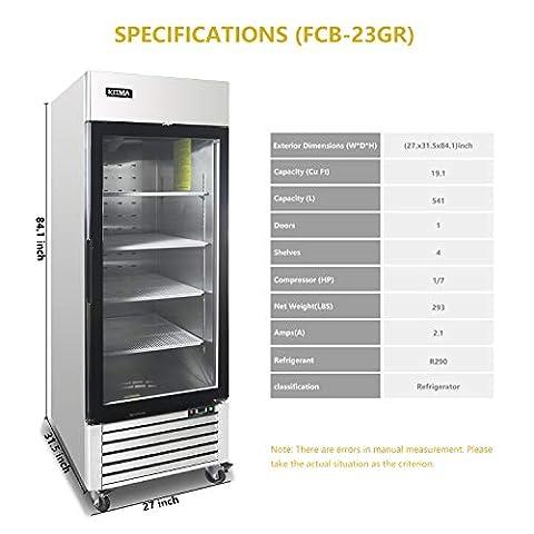 Single Glass Door Merchandiser Refrigerator – KITMA 19.1 Cu.Ft Merchandiser Display Case with LED Lighting for…