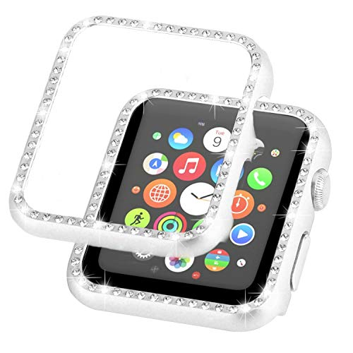 - Ayigo Compatible with Apple Watch Case 38mm 42mm, Metal Bumper Protective Cover Women Diamond Crystal Rhinestone Shiny Compatible iWatch Series 3/2/1 (Silver, 44mm)