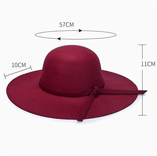 Hat el el moda techado invierno Domo red peludas Señoras ZHAS otoño y sombrero de Hat Bow x4zCfA
