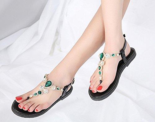 Aisun Tongs Mode Strass Femmes à Noir Boucle Fille Sandales Fermeture Verts qOqR0n64