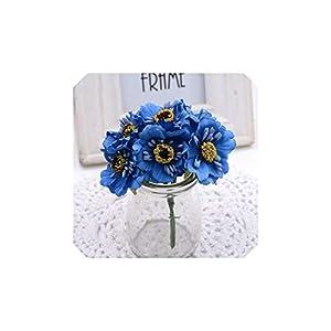 6Pcs 3.5Cm Mini Silk Cherry Artificial Poppy Bouquet DIY Handmade Wreath Wedding Decoration,Blue 54