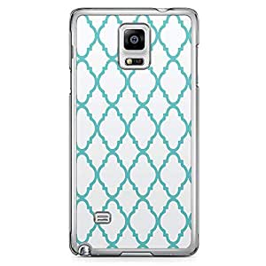 Samsung Note 4 Transparent Edge Phone Case Arabic Pattern Phone Case Blue Pattern 2D Note 4 Cover with Transparent Frame