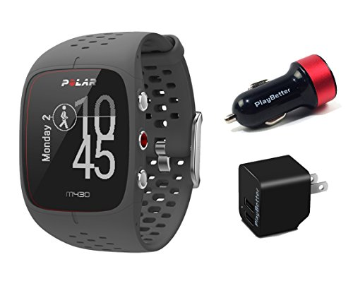 Polar M430 (Black) Running Watch POWER Bundle | Includes Running Watch, PlayBetter USB Car/Wall Charging Adapters | Advanced GPS Running Watch/Activity Tracker with Optical Wrist-HR by PlayBetter