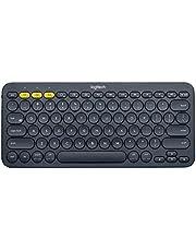 Teclado sem fio Logitech K380 com Conexão Bluetooth para até 3 dispositivos e Pilha Inclusa para PC, Mac, Android, iOS e Apple TV - Cinza