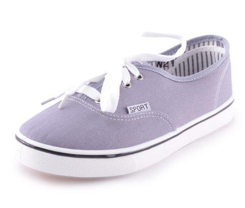 Mixmatch24 - Zapatos de cordones de lona para mujer gris - gris
