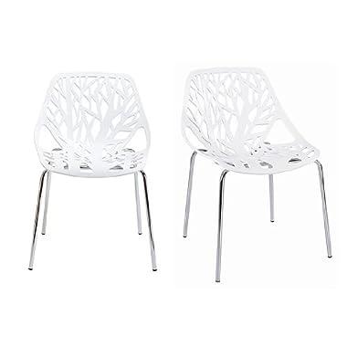 Fancierstudio Birch Sapling Plastic Accent Chair, White (Set of 2)