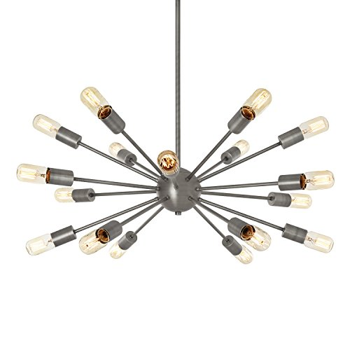 18-Light Pewter Sputnik Hanging Pendant, Oval Shape, Dimmable, ETL - Light Williamsburg 16