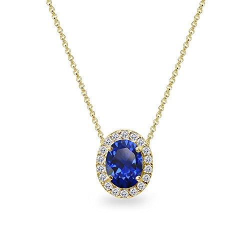 Yellow Gold Flashed Sterling Silver Created Blue Sapphire Oval Halo Slide Pendant Necklace with CZ Accents