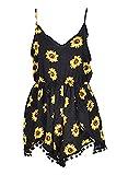 Relipop Women Summer Floral Romper Casual Sleeveless Party Evening Mini Jumpsuit (X-Large, Black)