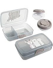 3friends broodtrommels voor kinderen, 2 stuks + 2 schroefdekseldozen, lunchboxen met 3 scheidingsvakken en kliksluiting, zonder BPA + weekmakers