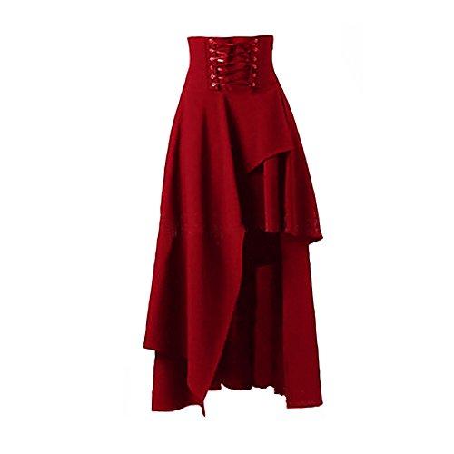 Naughtyspring Women's Vintage Steampunk Retro Victorian Irregular Hemline Gothic Style Skirt(Red-XL) ()