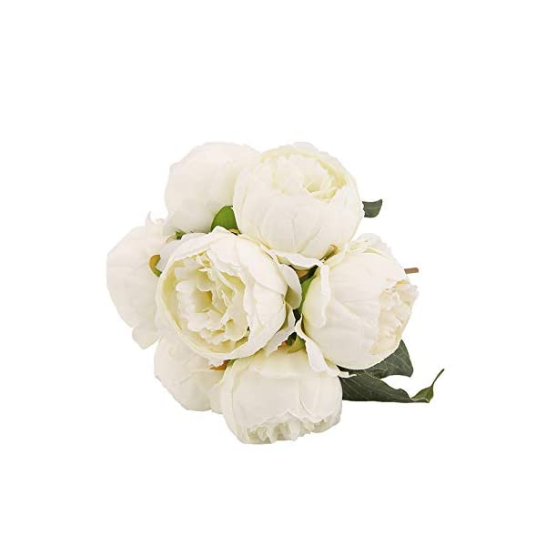 Kimura's Cabin Artificial Silk Peony Flower, Bouquets Floral Decor Home Garden Wedding (White)
