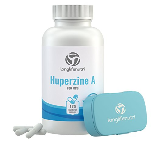 Huperzine A 200 Mcg - 120 Vegetarian Capsules | Made in USA | Powerful Nootropic Brain Complex | Cognitive Function Enhancer Supplement | Memory Focus Clarity Mental Booster | 200mcg Pure Powder Pill