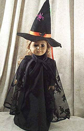 Doll Clothes Made 2 Fit American Girl 18' Witch Costume Black Dress Cape Hat