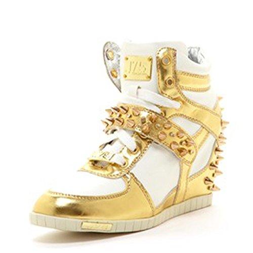 J75 by Jump Women's Aurora Studs Wedge Sneaker Gold Silver 5 M US