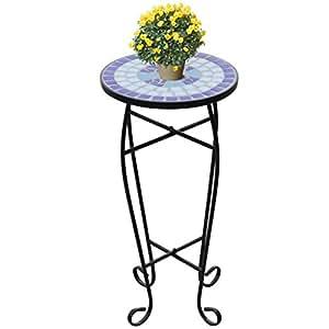 Anself Estantería Macetero para plantas de mosaico lado mesa, negro/azul 30cm