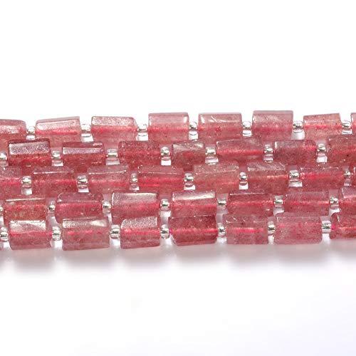 FANGQUN Strawberry Quartz Beads Cylinder Semi-Precious Gemstone Beads for Jewelry Making Loose Tube - Cylinder Quartz