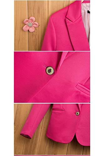 Casual Marca Moda Con Cappotto Vintage Rot Giacca Donna Tasche Fit Primaverile Eleganti Manica Puro Da Colore Slim Mode Ufficio Giacche Autunno Blazer Button Tailleur Business Lunga Di t5qq8cBwA