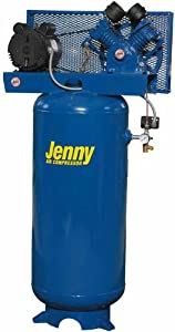 Jenny J5A-80V Single Stage Vertical Corded Electric Powered Stationary Tank Mounted Air Compressor with J Pump, 80 Gallon Tank, 1 Phase, 5 HP, 230V