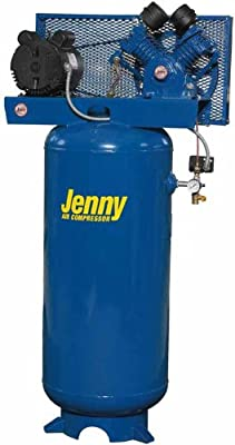 Jenny J5A-80V Single Stage Vertical Corded Electric Powered Stationary Tank Mounted Air Compressor with J Pump, 80 Gallon Tank, 1 Phase, 5 HP, 230V by Jenny Products, Inc