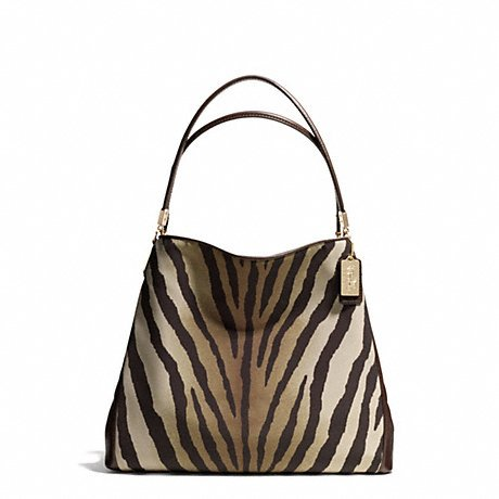 - Coach Madison Zebra Print Small Phoebe Shoulder Bag 26637 Light Gold/Brown Multi