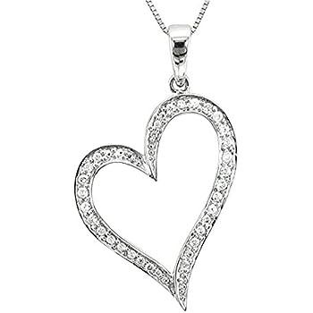 Amazon 14k white gold heart diamond pendant necklace 026 14k white gold heart diamond pendant necklace 026 carat aloadofball Choice Image