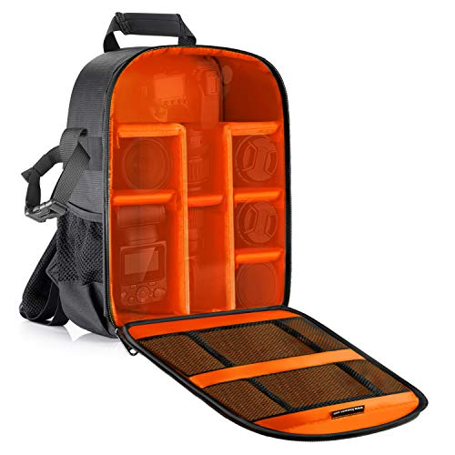 Neewer Camera Case Waterproof Shockproof 11.8x5.5x14.6 inches/30x14x37 centimeters Camera Backpack Bag with Tripod Holder for DSLR, Mirrorless Camera, Flash or Other Accessories(Orange Interior)