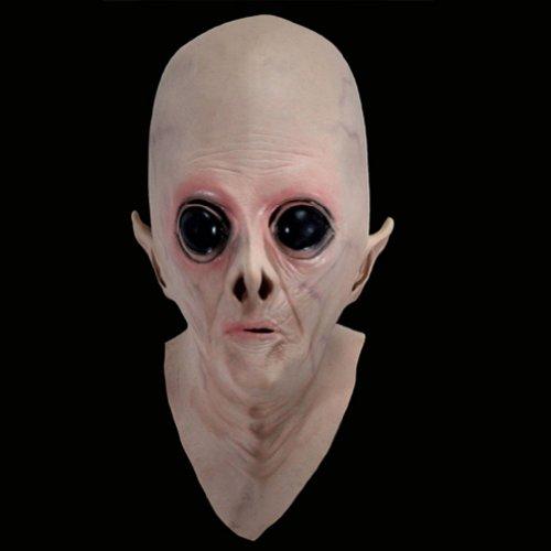[KINGMAS Alien Mask UFO The Extra Terrestrial ET Full Latex Mask] (Latex Alien Mask)