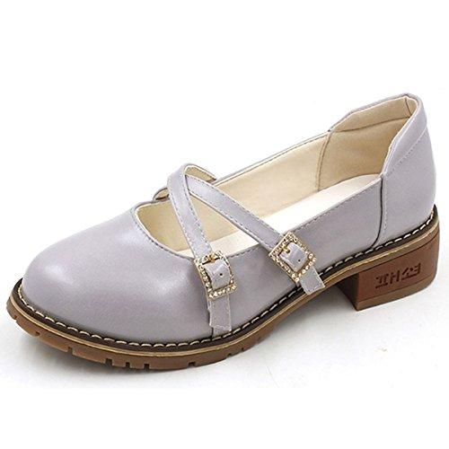 5 Talons Amande Confort CN35 EU36 Femmes D'Été Gris Chaussures Bout Chaussures PU DIMAOL 5 US5 Occasionnels de Plat UK3 Gris Talon Rond Pour n4qxYOB1