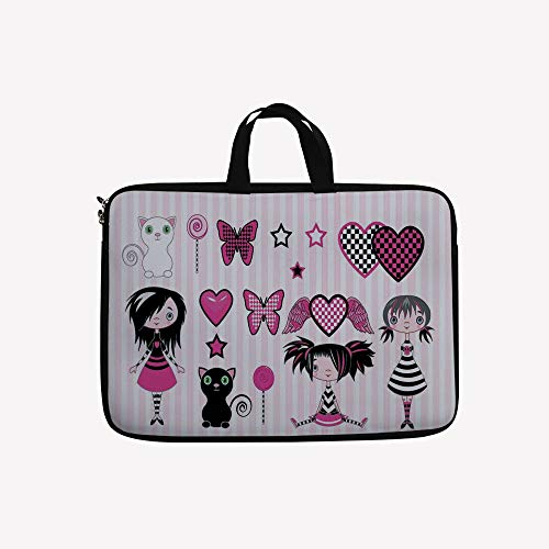 3D Printed Double Zipper Laptop Bag,Emo Fashion Butterfly Lollipop Kitten Heart with,14 inch Canvas Waterproof Laptop Shoulder Bag Compatible with 14