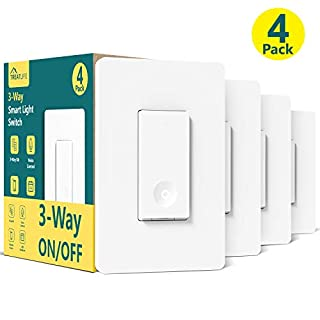 3 Way Smart Switch, Neutral Wire Required, Treatlife WiFi Light Switch Works with Alexa, Google Assistant, Remote Control, ETL, Schedule, No Hub Required, 4 Pack